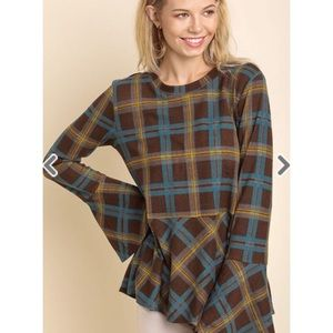 Plaid Long Trumpet Sleeve Top with a Ruffled Hem